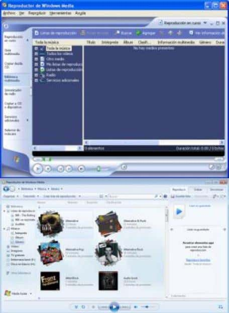 Windows Media Player en Windows XP (arriba) y Windows 7 abajo) W INDOWS M OVIE M