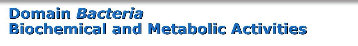 Domain Bacteria Biochemical and Metabolic Activities