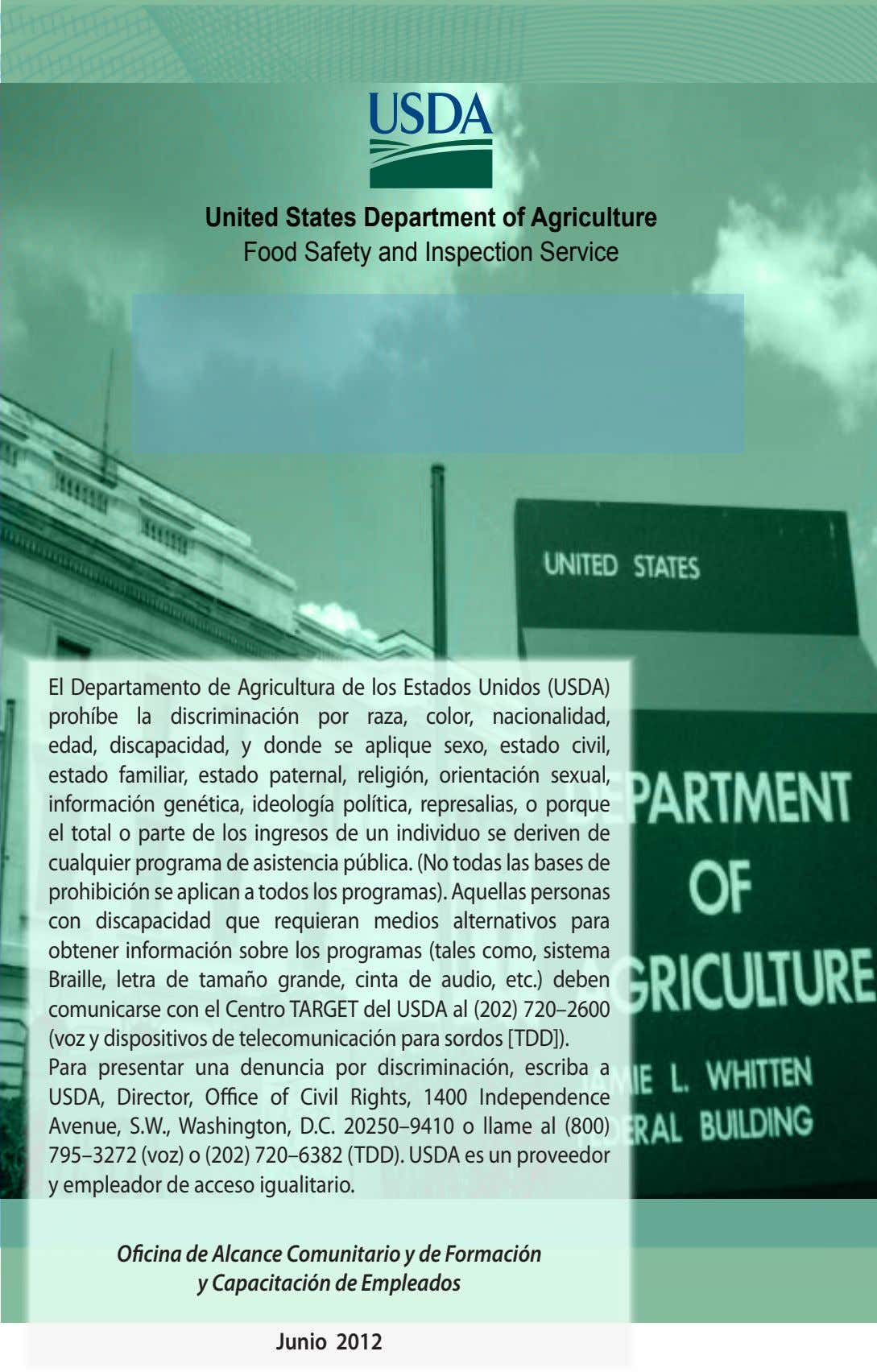 United States Department of Agriculture Food Safety and Inspection Service El Departamento de Agricultura de los