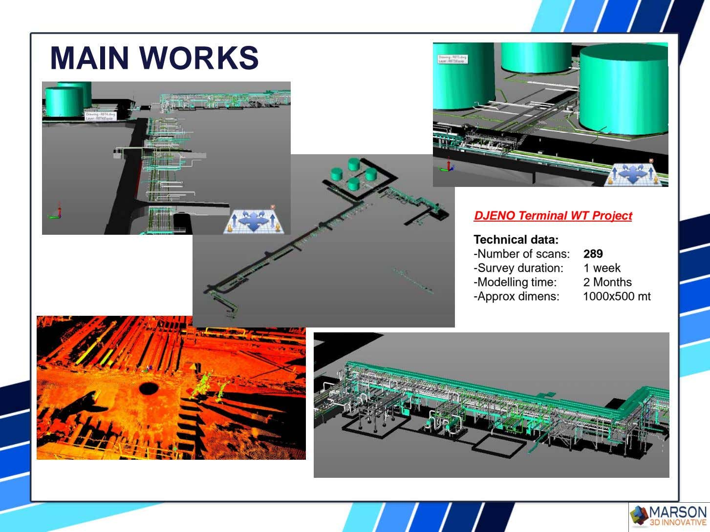 MAIN WORKS DJENO Terminal WT Project Technical data: -Number of scans: 289 -Survey duration: 1