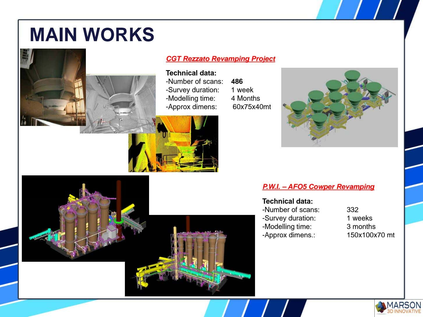MAIN WORKS CGT Rezzato Revamping Project Technical data: -Number of scans: 486 -Survey duration: 1