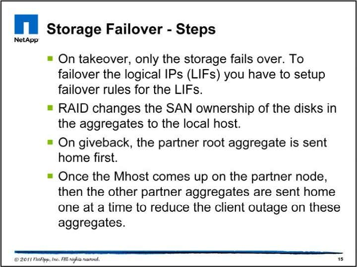 In SFO, interface failover is separate out from storage failover. So give back returns first aggregate
