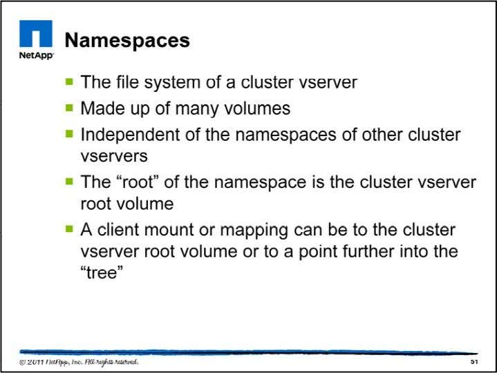 A namespace is simply a file system. It is the external (c lient-facing) representation of a