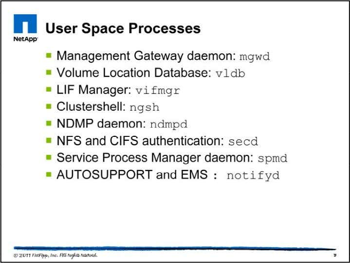 All nodes in a cluster have these user space processes: •mgwd: This process runs the M-host