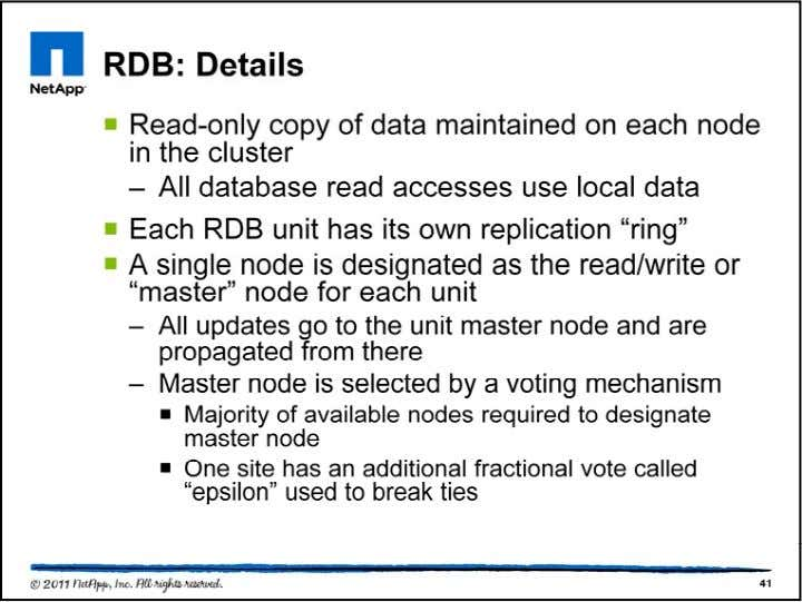 Each RDB unit has it own ring. If n is the number of nodes in the