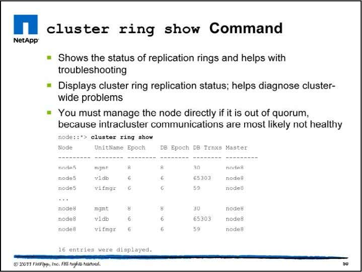 The cluster ring show command is available only at the advanced privilege level or higher. The