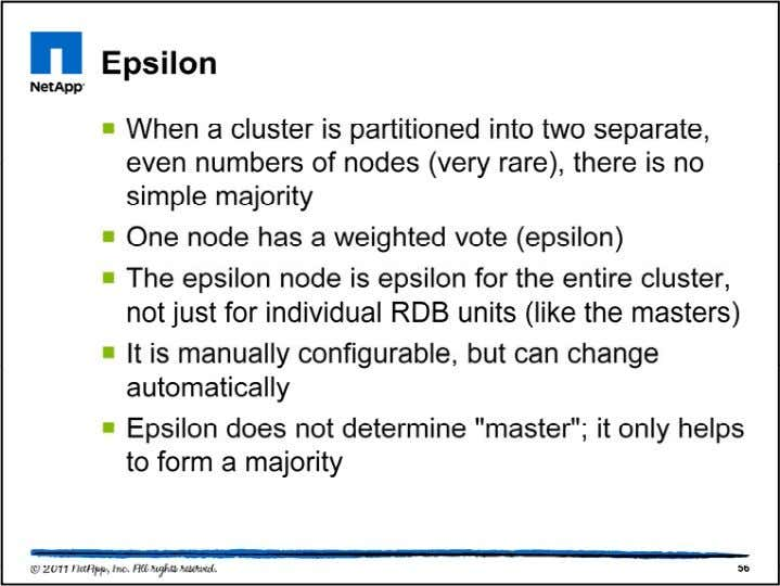 One node in the cluster has a special voting weight call ed epsilon. Unlike the masters