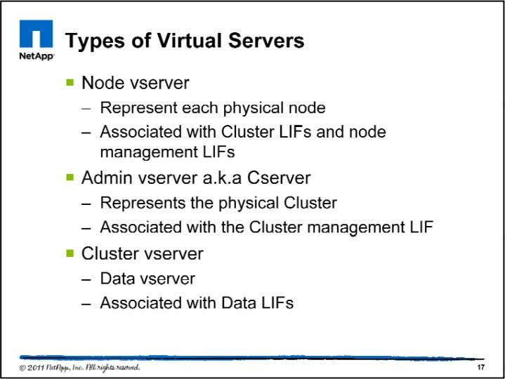 Vserver - A vserver is an object that provides network a ccess through unique network addresses,