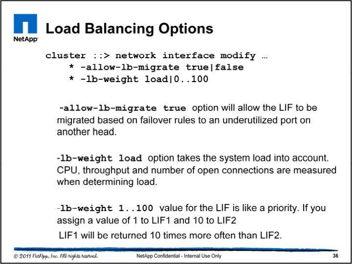 The -allow-lb-migrate true option will allow the LIF to be migrated based on failover rules to