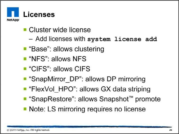 The base Cluster-Mode license is fixed and cannot be inst alled as a temporary/expiring license. The
