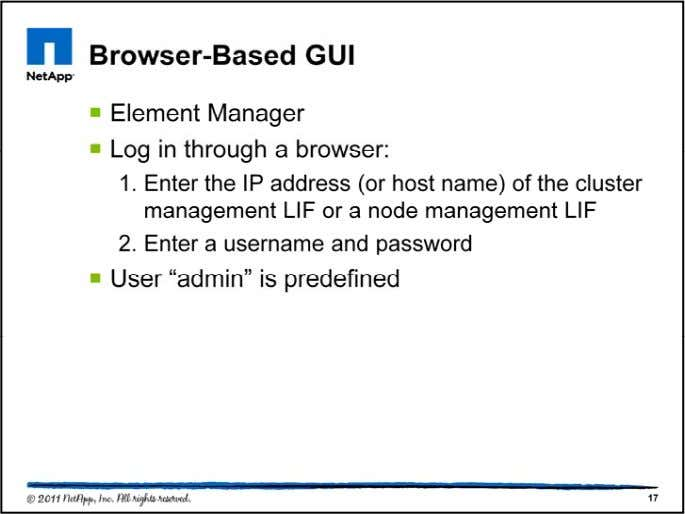 Element Manager is the web based user interface for administration of the cluster. All the operations