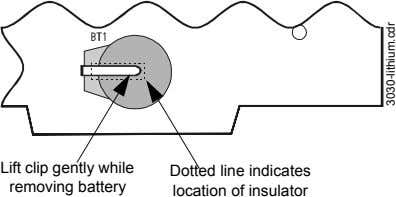 Lift clip gently while removing battery Dotted line indicates location of insulator 3030-lithium.cdr