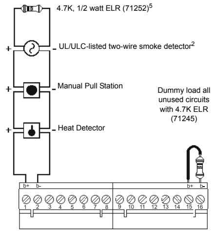 4.7K, 1/2 watt ELR (71252) 5 UL/ULC-listed two-wire smoke detector 2 Manual Pull Station Dummy