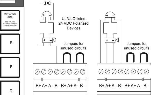 UL/ULC-listed 24 VDC Polarized Devices Jumpers for Jumpers for unused circuits unused circuits B+ A+