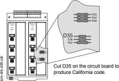 Cut D35 on the circuit board to produce California code. icm-4rk-d35.cdr