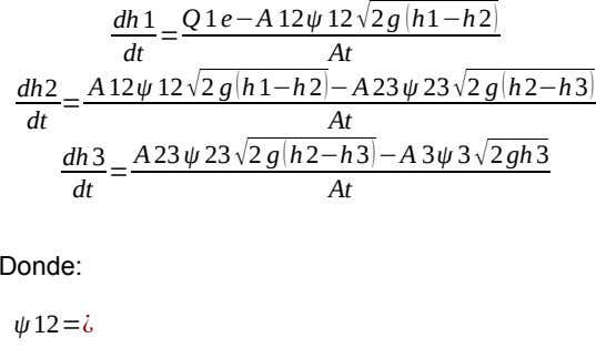 dh 1 = Q 1 e−A 12ψ 12√2 g (h1−h2) dt At dh2 = A12ψ 12√2