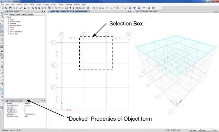 "Selection Box ""Docked"" Properties of Object form"