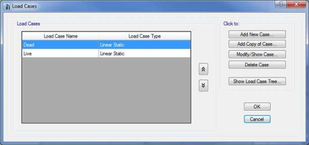 Delete Case button to delete the highlighted load case. Figure 9-1 Load Cases form To define