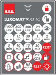 LUXOMAT ® IR-PD 1C 1000 600 300 20 Lux Lux Lux Lux 1 5 30