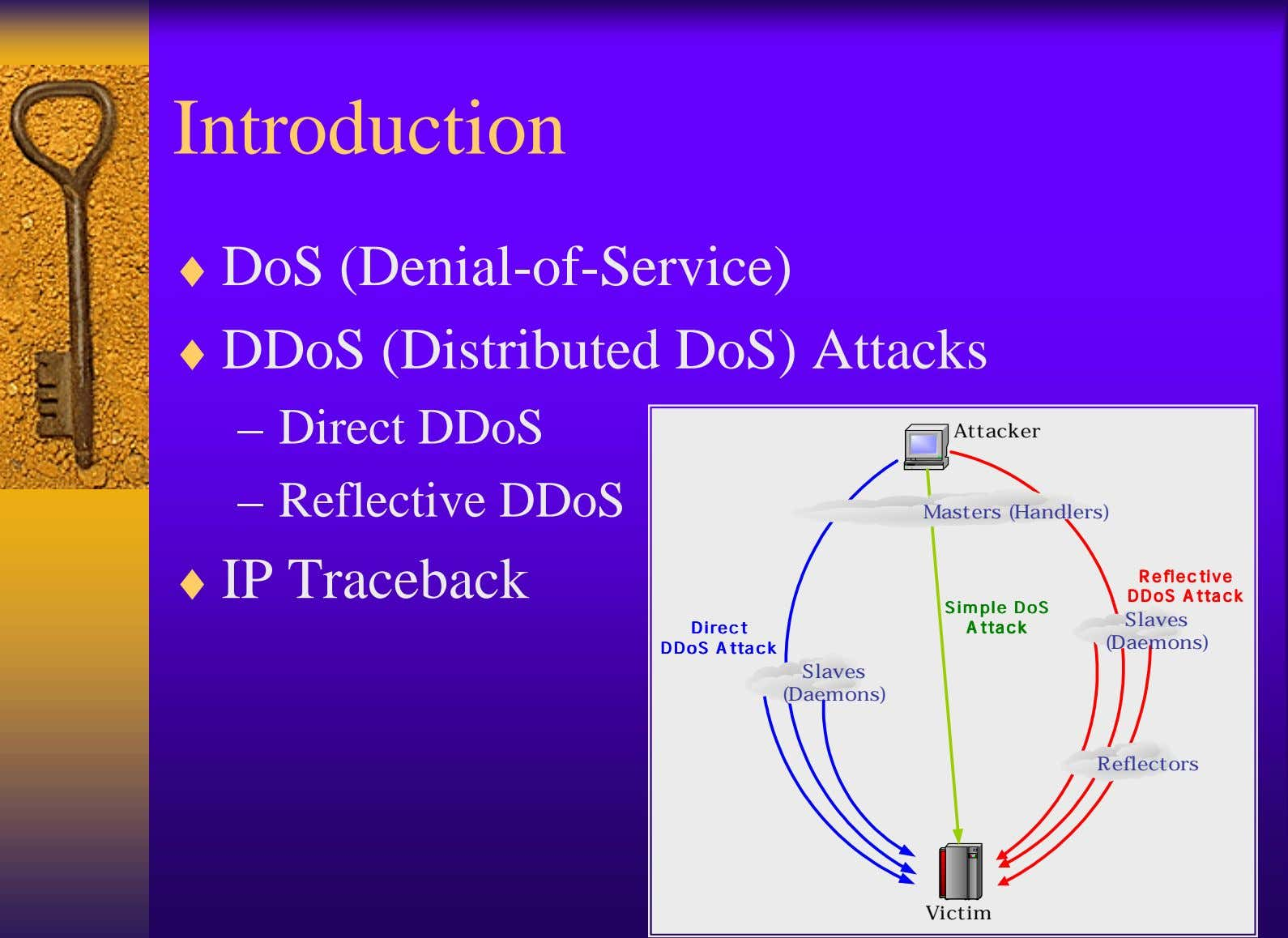 Introduction ♦ DoS (Denial-of-Service) ♦ DDoS (Distributed DoS) Attacks – Direct DDoS Attacker – Reflective