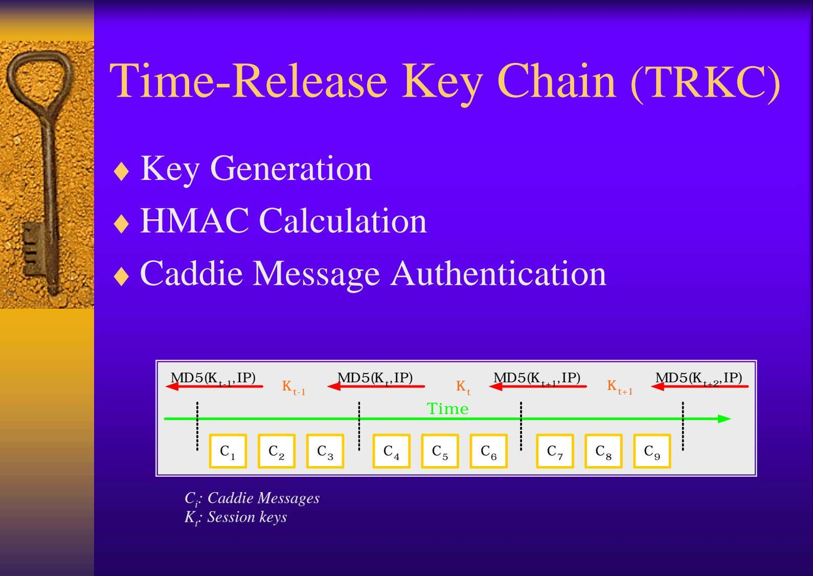 Time-Release Key Chain (TRKC) ♦ Key Generation ♦ HMAC Calculation ♦ Caddie Message Authentication MD5(K
