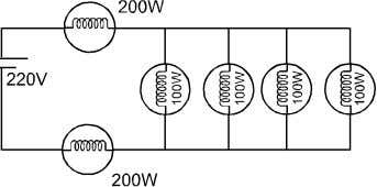 as shown. The total electric power consumed by the bulbs is: (4) (1) 75 watt (2)