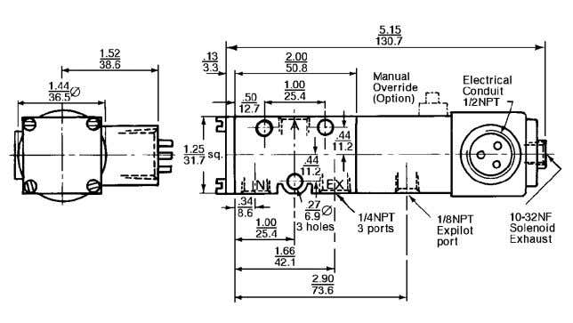 8/9 for additional solenoid details. Dimensions: Inch mm PRESSURES Controlled (inlet) pressure & auxilliary