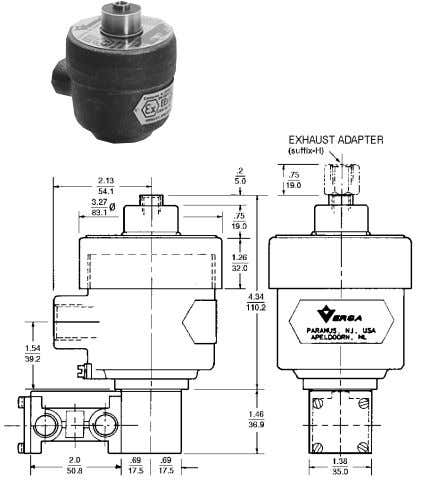 Valves For Hazardous Locations - 3/2 (Three-Way) Valves (d) FLAMEPROOF Valves with -XDAS or -XDAT type