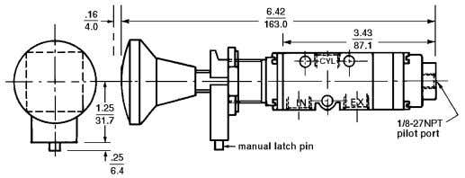 pulled out and released. To release the Dimensions: Inch mm manual pin latch, pull the knob