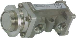pressure + 17N). Dimensions: Inch mm 3/2 (Three-Way) Valve Button Operated (Guarded)/ Spring Return N.O. N.C.