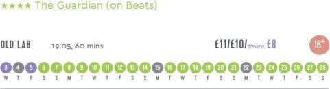 HHHH The Guardian (on Beats) OLD LAB £11/£10/preview £8 19.05, 60 mins 16 + 34