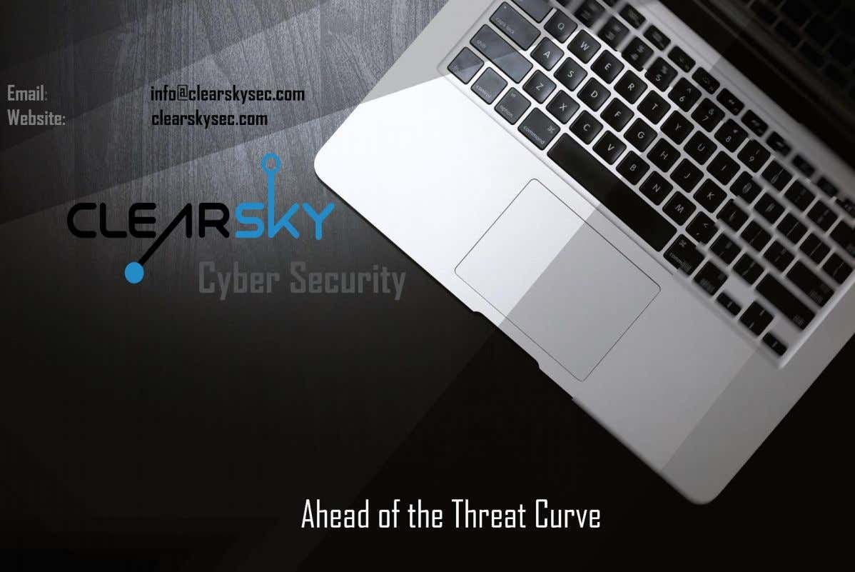July 2019 ClearSky Cyber Intelligence Report 2019 All rights reserved to ClearSky Security Ltd . TLP: