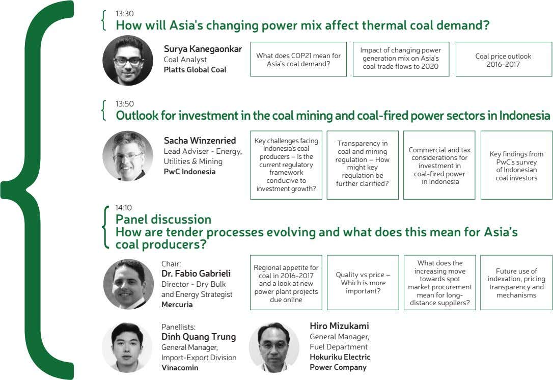 13:30 How will Asia's changing power mix affect thermal coal demand? Surya Kanegaonkar Coal price