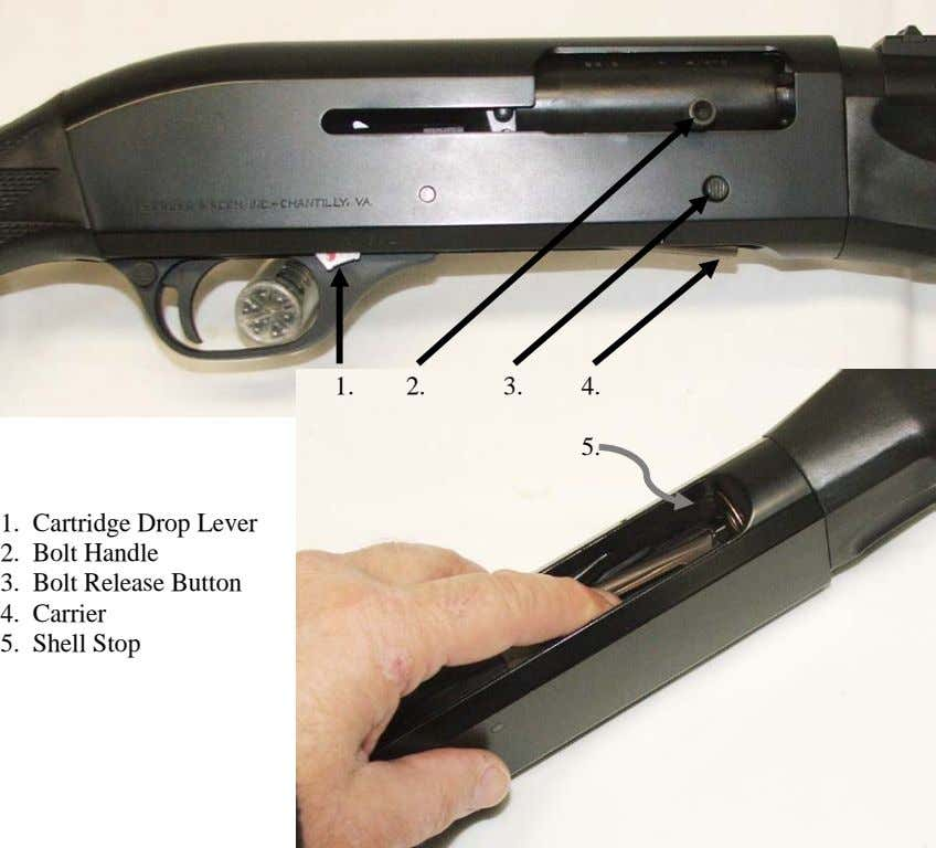 1. 2. 3. 4. 5. 1. Cartridge Drop Lever 2. Bolt Handle 3. Bolt Release
