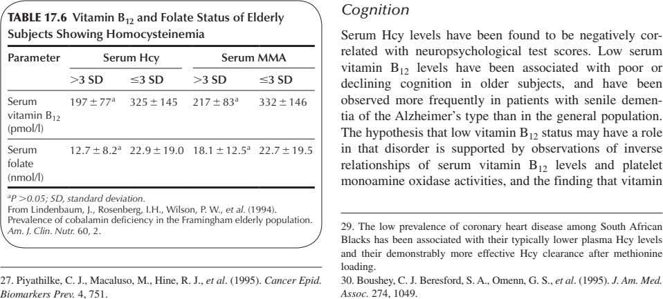 Cognition TABLE 17.6 Vitamin B 12 and Folate Status of Elderly Subjects Showing Homocysteinemia Parameter