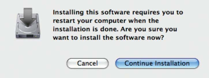 "will be interrupted, click ""Continue Installation"". 9. Once the installation has finished, click ""Restart""."