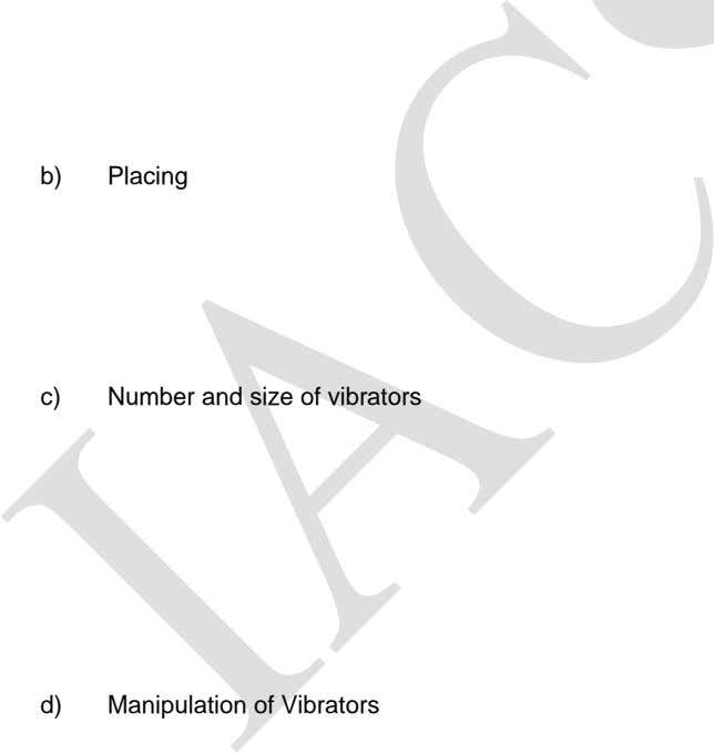 b) Placing c) Number and size of vibrators d) Manipulation of Vibrators
