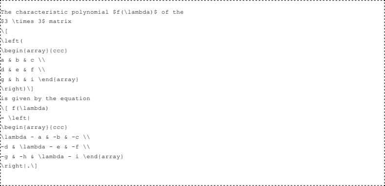 Thecharacteristicpolynomial$f(\lambda)$ofthe $3\times3$matrix \[ \left( \begin{array}{ccc} a&b&c\\