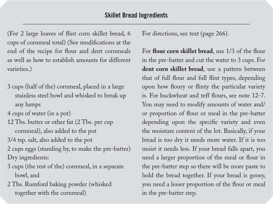 Skillet Bread Ingredients (For  2  large  loaves  of flint  corn