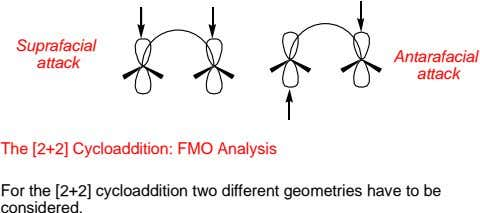 Suprafacial Antarafacial attack attack The [2+2] Cycloaddition: FMO Analysis For the [2+2] cycloaddition two
