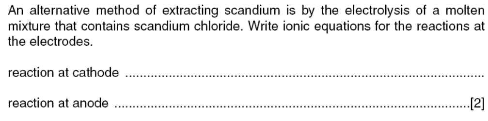 and chemistry - Core Topic 5 – Electricity and chemistry - Core 1. W10 2. N/00