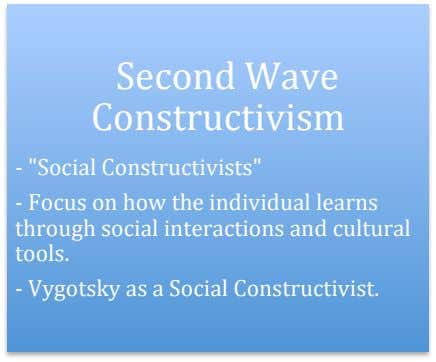 "Second Wave Constructivism - ""Social Constructivists"" - Focus on how the individual learns through social"