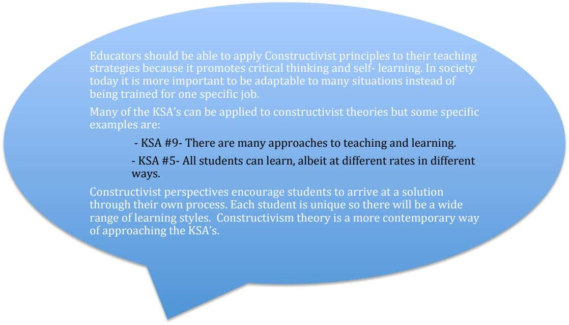 Educators should be able to apply Constructivist principles to their teaching strategies because it promotes