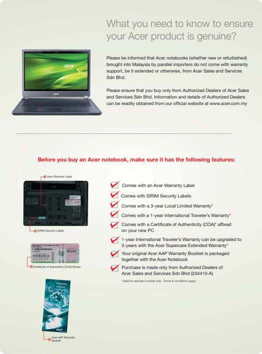 What you need to know to ensure your Acer product is genuine? Please be informed