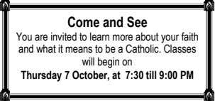 Come and See You are invited to learn more about your faith and what it