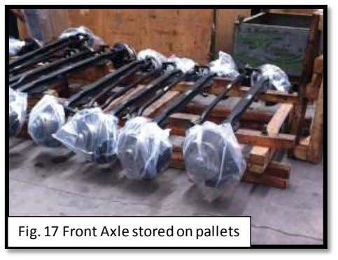 Fig. 17 Front Axle stored on pallets