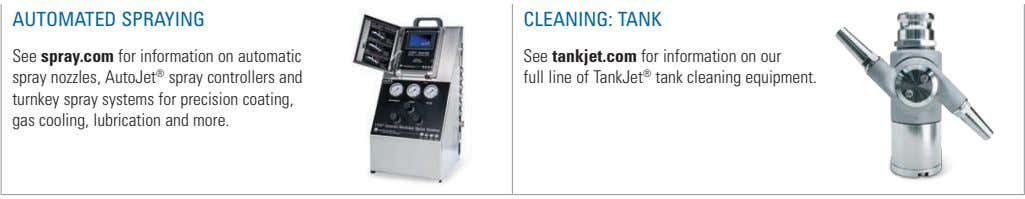 AUTOMATED SPRAYING CLEANING: TANK See spray.com for information on automatic spray nozzles, AutoJet ® spray