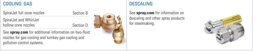 COOLING: GAS DESCALING SpiralJet full cone nozzles Section B SpiralJet and WhirlJet hollow cone nozzles