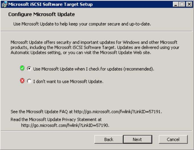 l'option Use Microsoft Update when I check for updates . Cliquez sur Install . Copyright ©