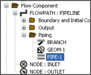 navigate to FLOWPATH  Piping and choose PIPE-1. Right click on PIPE-1, select Copy and then,